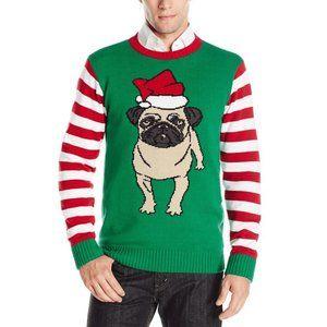 Ugly Christmas Sweater Unisex Santa Pug, Large